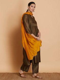 Green Hand Embroidered Chanderi Silk Suit with Mustard Yellow Dupatta - Set of 3 Silk Suit, Silk Pants, Fancy Kurti, Kurta Style, Shops, Silk Dupatta, Indian Ethnic Wear, Cotton Silk, Mustard Yellow