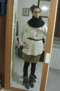 Winter, white wool jumper, camel skirt, scarf, boots