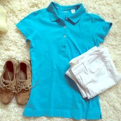 Robins Egg Blue Polo! Robins Egg Blue Polo! Not stretched out and like new. 95% cotton and 5% spandex. No tears or stains!  pants and sperrys not for sale. Lady Hathaway Tops Tees - Short Sleeve