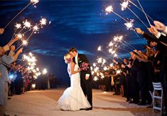 Sparklers during the first dance ♥ Makes the first dance more fun and engages everyone else for more than 10 seconds, and the bride gets to dance with her hubby in a sparking wonderland for a little while. Cool!