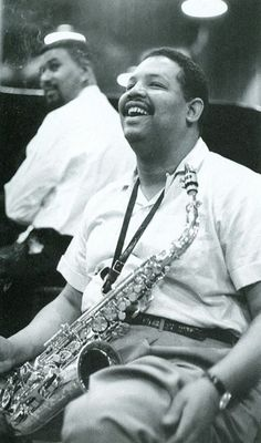 Cannonball Adderley sharing a laugh with Paul Chambers