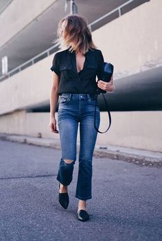 summer outfit, casual outfit, night out outfit, comfy outfit, simple outfit, easy outfit, minimal outfit, summer trends 0216 - black short sleeve shirt, kick flare jeans, black flat mules, black shoulder bag, round sunlgasses