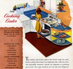 1944 - love the orange, yellow and blue combination 1940s Kitchen, Vintage Kitchen, Vintage Ads, Vintage Decor, 1940s Home Decor, World Of Tomorrow, Orange Yellow, Blue, Kitchen Cabinetry