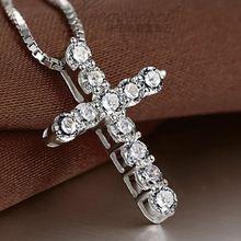 Collier Femme nuevas 925 sterling silver cross Collares y colgantes Collares para mujeres hombres Mujer accesorios de la joyería(China (Mainland))