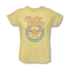 Wonder Woman Circle Logo Women's Relaxed Fit Light Yellow T-Shirt from Warner Bros.: This shirt features a… #Movies #Films #DVD Video