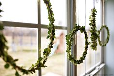 simple wreathsI  - Embroidery hoops + boxwood + hot glue = wreaths that look awesome and don't block all the light