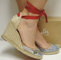 Christian Louboutin 100 Brigitte Trash Wrap Wedge Espadrilles Shoes 41