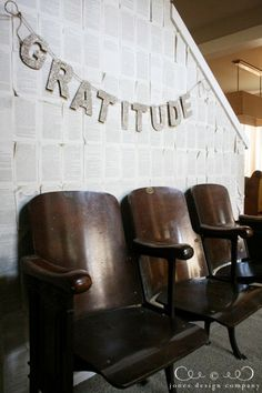 fall house tour: vintage theater seats and glittery banner