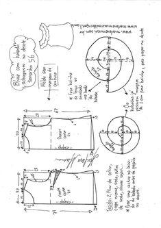 Blusa com babado sobreposto no decote | DIY - molde, corte e costura - Marlene Mukai Blouse Patterns, Sewing Patterns, Smocks, Models, Free Pattern, Diagram, Bb, Clothing, Sewing Blouses