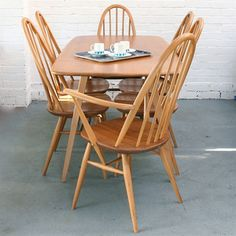 Image of Vintage Ercol Plank Dining Table  Chairs.
