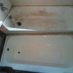 Before / After Porcelain Bathtub restoration on the old house we are modeling...used a porcelain paint kit from Lowes department store . Turned out great. !!