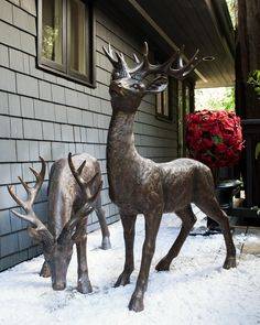 ideal for both indoor and outdoor use these life size outdoor deer bring a christmas deer decorationsoutdoor
