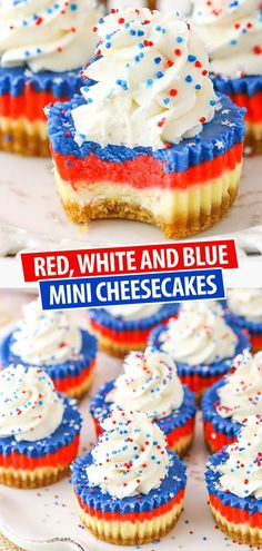 These Red, White and Blue Mini Cheesecakes are smooth, creamy and easy to make! A perfect cheesecake recipe for your of July celebration! Patriotic Desserts, 4th Of July Desserts, Easy No Bake Desserts, Köstliche Desserts, Holiday Desserts, Holiday Recipes, Delicious Desserts, Dessert Recipes, Yummy Food