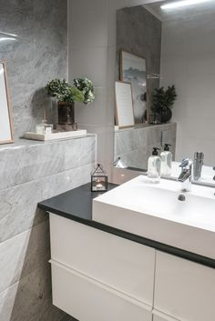 Interior by Jutta K.N: Suunnittelukohde - viimeistelty wc Double Vanity, Interior And Exterior, Bathroom Ideas, Sweet Home, Houses, Interiors, Modern, Design, Home Decor