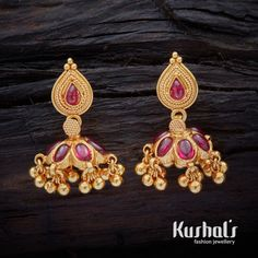 Cute Simple South Indian Traditional Silver Temple Jewellery Jhumka Earrings with Hanging Beads & Studded with spinal stones. Wedding Jewellery Designs, Gold Jewellery Design, Wedding Jewelry, Silver Jewellery, Jewellery Rings, Gold Jhumka Earrings, Gold Earrings Designs, Gold Jewelry Simple, Fashion Jewellery Online