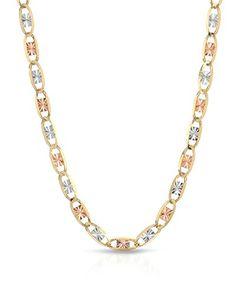 "MCS Jewelry 14 Karat Three Tone Yellow Gold/White Gold/Rose Gold Thin Necklace (16""-20"")"