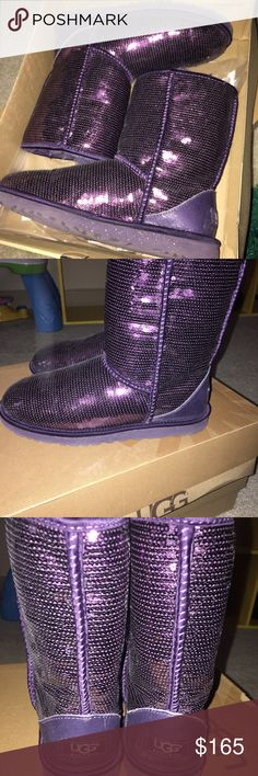 Ugg boots Sequin ugg boots color:purple Size 8 women's like new worn once UGG Shoes