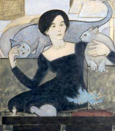 Will Barnet - Cat Lover, 1987. Gouache on Vellum. Al final voy a parecer la loca de los gatos...