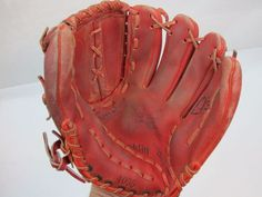 Franklin Baseball Glove Mitt Red Leather 4055 Marked- Right Hand Throw Red Leather, Stitching, Gloves, Hands, Baseball, Costura, Stitch, Sew