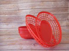 Red Plastic Fast Food Basket, Red Fry Basket,
