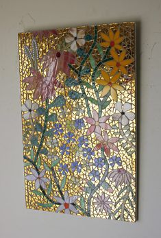 Flower Power Stained Glass Mosaic Stained Glass Mirror, Sea Glass Mosaic, Mosaic Tile Art, Stained Glass Crafts, Mirror Mosaic, Stained Glass Designs, Mosaic Crafts, Mosaic Designs, Mosaic Patterns