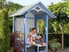 The own gazebo: a philosphere bank to relax - Alles über den Garten Outdoor Sheds, Outdoor Spaces, Outdoor Gardens, Outdoor Living, Outdoor Decor, Herb Garden Pallet, Garden Arbor, Garden Beds, Gazebo