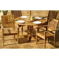 """Barbuda 5pc Stackable Outdoor Teak Dining Set by Westminster Teak. $3195.00. Lifetime Warranty against Manufacture Defects. Comes with 1 Barbuda folding Teak Table and 4 Sussex Stacking Armchairs. Teak Furniture with Quality rated """"Best Overall"""" by the Wall Street Journal. Table - 47""""Dia x 30""""H. Chair - 23.25W x 23.5D x 37.75H. Barbuda Sussex Stacking teak outdoor patio Set. Comes with 1 Barbuda Teak Folding Table and 4 Sussex Stacking Teak Chairs.  FULLY ASSEMBLED!"""