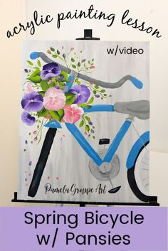 Paint Spring with these Pansies in a Bicycle Basket. One stroke at a time paint along with this spring inspired painting tutorial. The Pansies bring a pop of color to this fun acrylic painting lesson. Bicycle Art, Your Paintings, Spring Painting, Paint Background, Step By Step Painting, Painting Lessons, Bicycle Painting, Happy Paintings, Easy Paintings