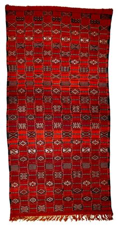 Africa | Berber carpet/rug or blanket | ca. 1920 - 1950 | Wool, cotton and silk.