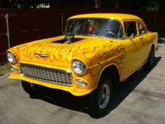 kustomsandchoppers:  Now that's a real car! A Yellow 55 Chevy gasser!