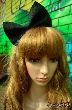 Frosted black felt bow bunny metal headband/hair by SewingitAU,