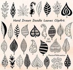Flower Drawing Discover Hand Drawn Doodle Leaves Clipart leaves silhouette PNG EPS AI Vector Foliage Clip art for Personal and Commercial Use Zentangle Drawings, Doodle Drawings, Zentangles, Flower Drawings, Drawing Flowers, Art Flowers, Doodle Patterns, Zentangle Patterns, Doodle Art Designs