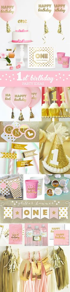 1st Birthday Girl Party Ideas for a Pink and Gold First Birthday Party Theme - Happy Birthday Balloons, Banners, Tassel Garlands, Napkins, Cake Toppers and more!  by Mod Party