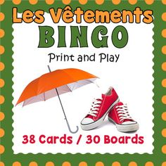 Your students will enjoy reviewing vocabulary and spelling with this colorful and fun bingo game featuring French clothing vocabulary words.  Included are 38 vocabulary word calling cards and 30 unique bingo game boards.  Each word card includes the (very important to French) article and each is illustrated with a high quality image.We recommend that you laminate the boards and cards so that you can use them over and over.