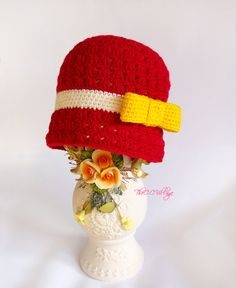 Red Crochet girl Hat with yellow bow baby Cap by TheCCVillage, £11.00 This could be a perfect gift for a little girl !
