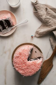 Sno Ball Cake - This cake is a two-layer chocolate cake with marshmallow fluff in between the layers and all on the outside. The baby pink coconut flakes are all over the cake, top and sides.