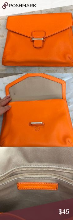 Orange Banana Republic handbag. Used only once, great condition! Banana Republic Bags Clutches & Wristlets