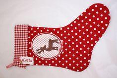 Wunderschöner, liebevoll, doppelt genähter Nikolausstiefel / Weihnachtsstiefel.  Aus hochwertigem Baumwollstoff mit niedlicher Filzapplikation.    Die