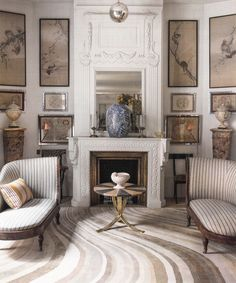 Rug, Picture Walls, Striped Fabric, Lounge Chairs, Chinoiserie, Fireplace, Mantel, Side Table. | Chic. The Rug Company