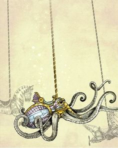 Take a ride on the underwater Steampunk Carousel with this Octopus! Illustration of Sunken hidden Carousel Creatures by Martin of The Filigree.