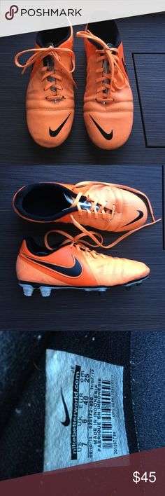 NIKE cleats (soccer / lacrosse) Cleats perfect for lacrosse or soccer. They support the foot very well to prevent injuries, have great traction and are very comfortable. Cleat is orange with a silver tongue. They were gently used for a few lacrosse practices so they have a few natural scuff marks from the turf but otherwise they are in very good condition. The sole is not rubbed off and has a lot of life left to it. I washed them. Guaranteed authentic Nike⚡️OFFERS WELCOME! All reasonable…