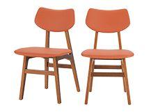 Set van 2 Jacob eetkamerstoelen, amber oranje en walnoot