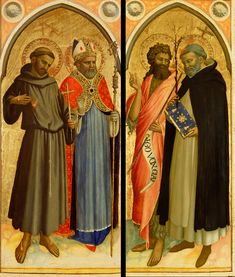 Fra Angelico (Guido di Pietro), 1400-1455, Italian, Saint Francis and a Bishop Saint, Saint John the Baptist and Saint Dominic; late 1420s. Tempera and gold leaf on panel. J. Paul Getty Museum, Los Angeles. Early Renaissance.