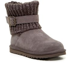 UGG Australia Cambridge Knit UGGpure Lined Boot ($120) ❤ liked on Polyvore featuring shoes, boots, ankle booties, ankle boots, grey, gray boots, grey ankle booties, platform bootie, grey knit boots and grey bootie
