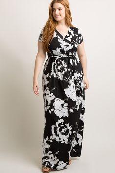 e9be822cb Black Abstract Floral Plus Wrap Dress Maternity Nursing, Plus Dresses, Bell  Sleeves, Wrap