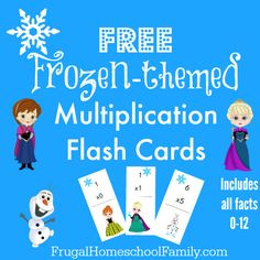 FREE Frozen-themed Multiplication Flash Cards - Frugal Homeschool Family