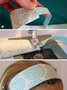 DIY Fabric Headband Tutorial - Handmade Gift Series (includes template and link for woman's size.- Alice and LoisAthletic Headbands Tutorial How to make them yourself and save a fortune.DIY Fabric Headband Tutorial - I want to try these in tie dye. Sewing Headbands, Fabric Headbands, Handmade Headbands, Handmade Gifts, Headbands For Girls, Fabric Headband Tutorial, Diy Headband, Bohemian Headband, Headband Styles