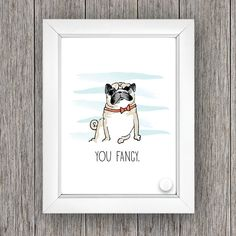 This listing is for a hand-drawn pug print. Text is customizable. Printed