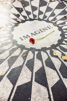 The John Lennon memorial mosaic, 'Strawberry Fields', Central Park, NYC.