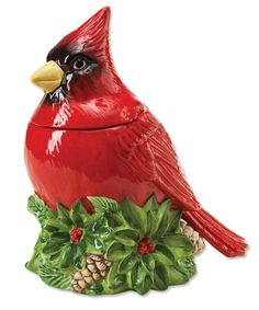 Cardinal Cookie Jar Cardinal Sitting on Green Flowers w Red Berries, and Pine Cones. Christmas Cookie Jars, Christmas Dishes, Cute Cookies, Holiday Cookies, Christmas Holidays, Christmas Decorations, Christmas Tale, Peanut Blossoms, Teapot Cookies
